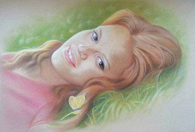 Настоящий портрет пастелью для любимой девушки в Владивостоке, просто и со вкусом!