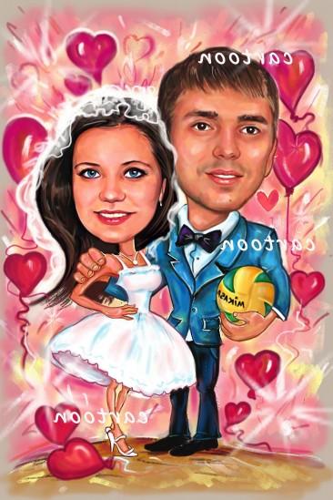 Свадебный шарж с оригинальным сюжетом в Владивостоке!