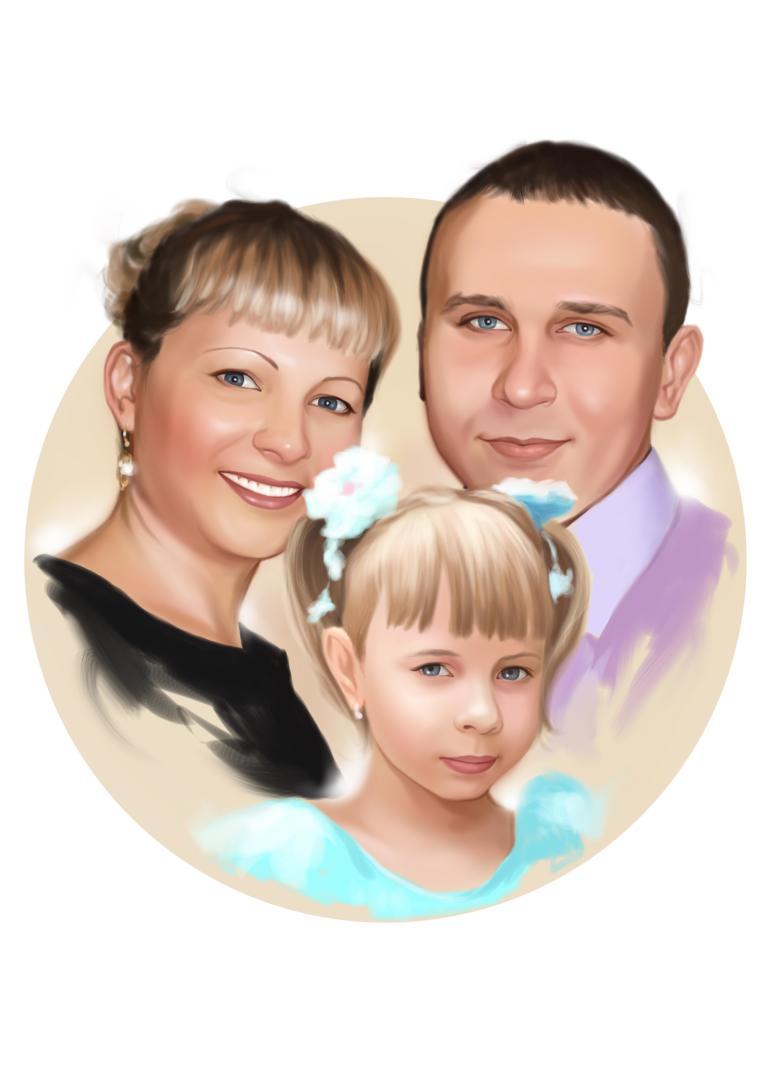 Семейный портрет по фото на холсте в Владивостоке — правильный подарок!