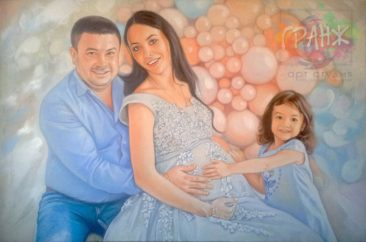 Семейный портрет маслом на холсте