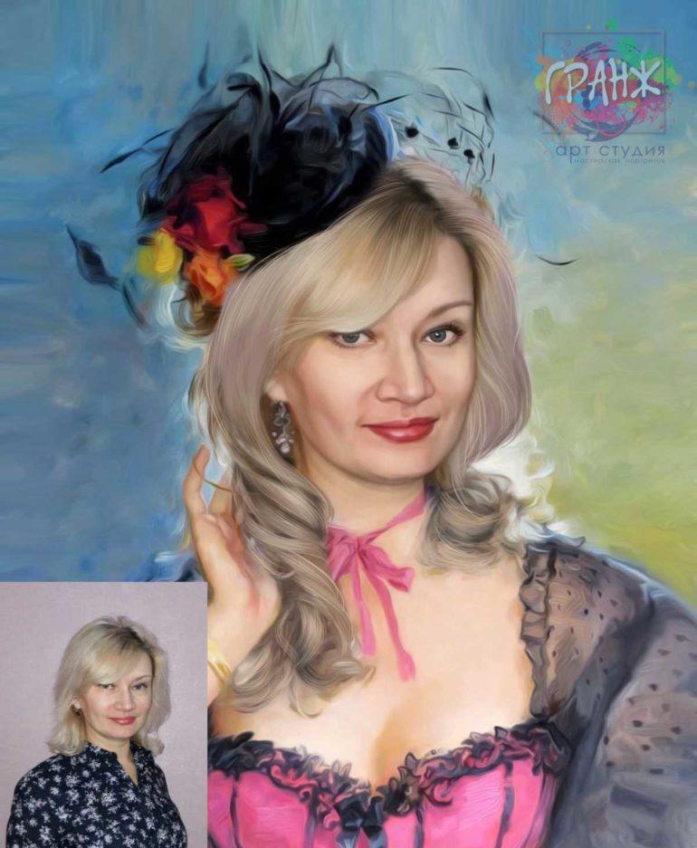 Арт портрет по фото на холсте