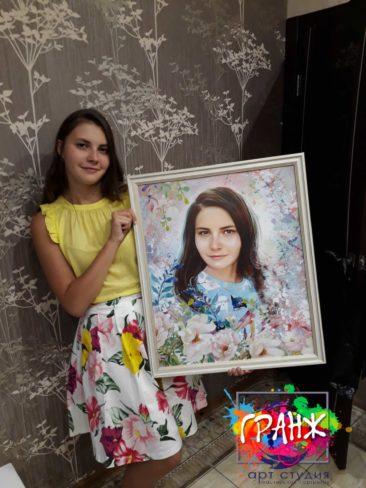 Портрет по фото для дочки ко дню рождения! Подарок дочке, очень понравился.